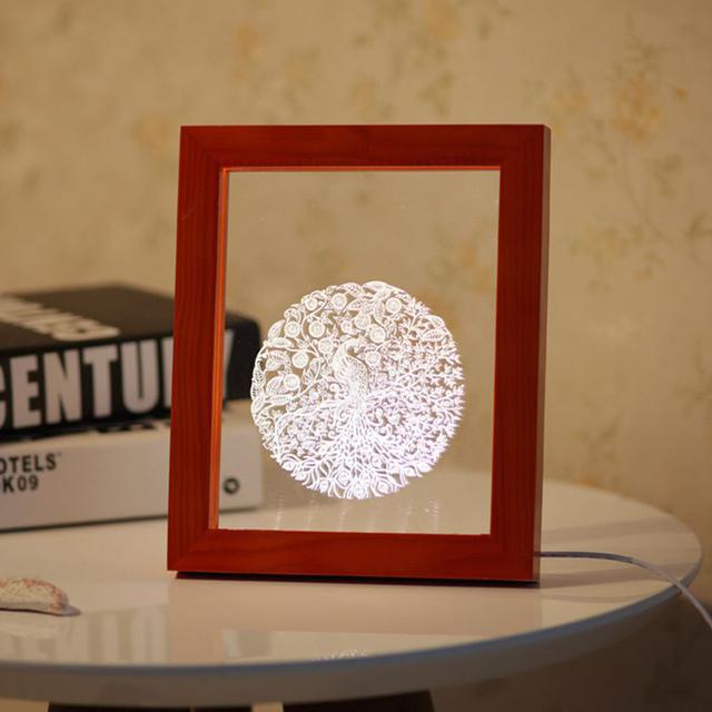Luz LED 3D Reina Pájaro De Madera Foto Marco de la Decoración de La Habitación de Noche USB Lámpara de Escritorio Luces