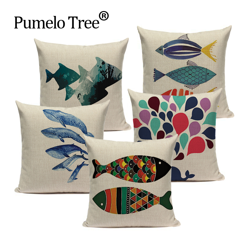 Colorful Sea Animal Fish Pattern Cotton Linen Cushion Cover Pillowcase Chair Waist Throw Pillow Cover 18x18 inches