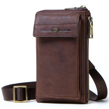 Vintage Luxury Genuine Leather Waist Bag Men Pack Funny Belt Chain For Phone Pouch Bolso