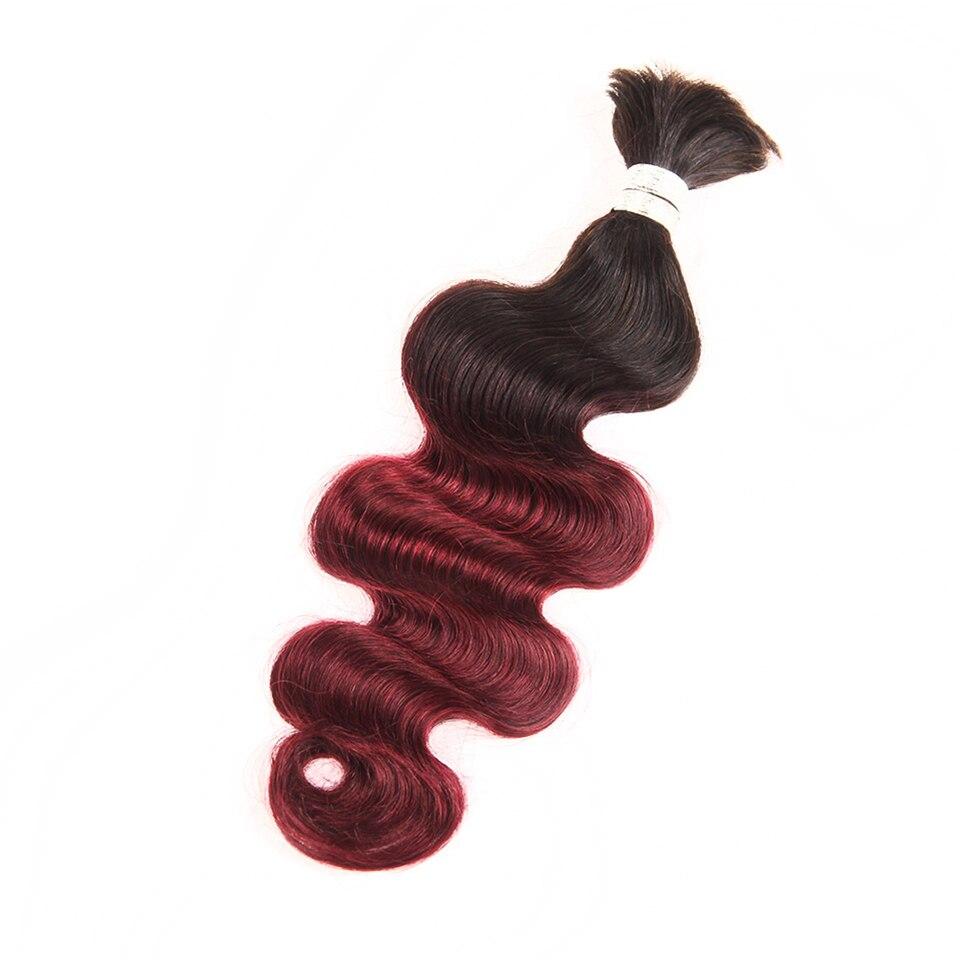 Sleek Hair Ombre 99J Remy Brazilian Body Wave Human Bulk Hair For Braiding Free Shipping No Weft Crochet Human Hair Braids