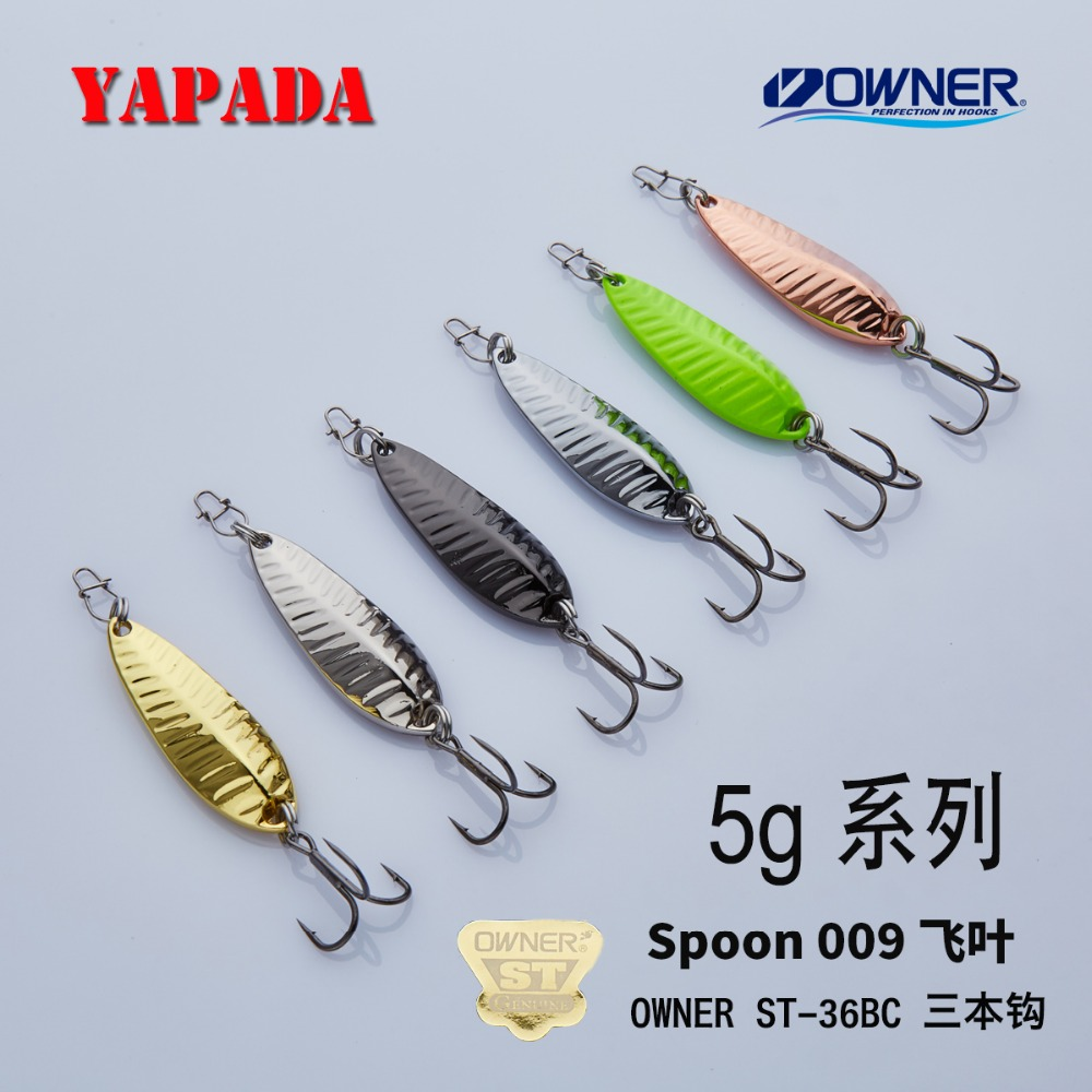 YAPADA კოვზი 009 Fly Leaf 5g / 7g Multicolor 34-39mm OWNER Treble Hook Feather Metal თუთიის დისკები კოვზი Fishing Lures Bass