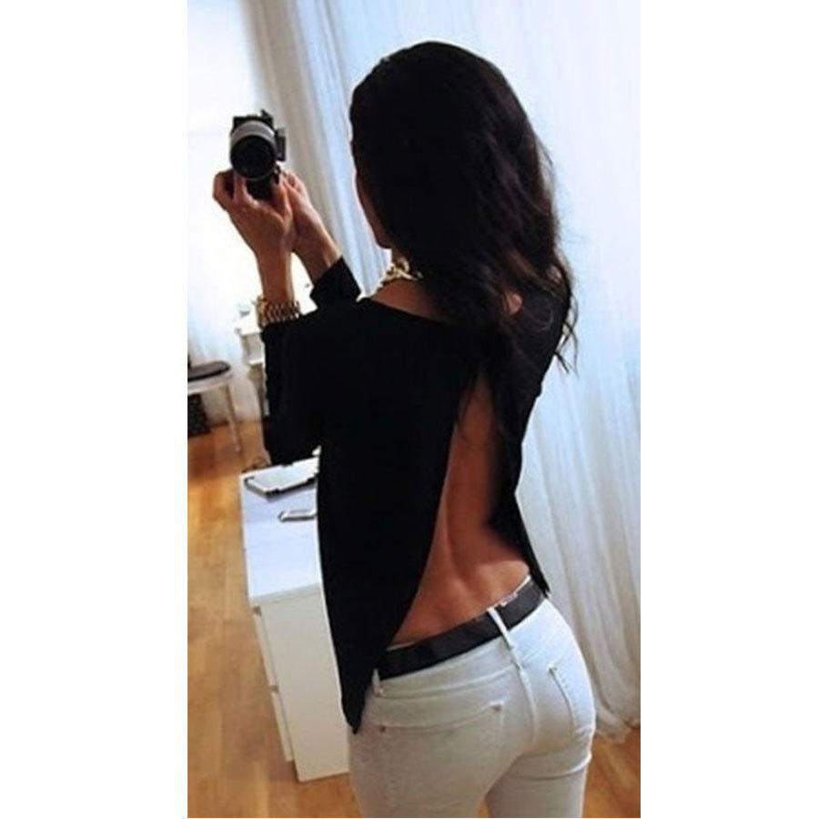 Black Backless Shirts