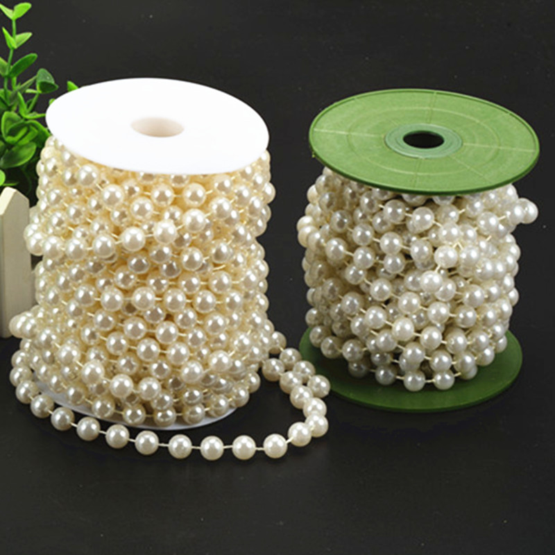 Hot 2M 8mm Pearls Beads Chain Jewelry Making Garland Wedding Party Decoration Faux Imitation Plastic Round Pearl Beads string