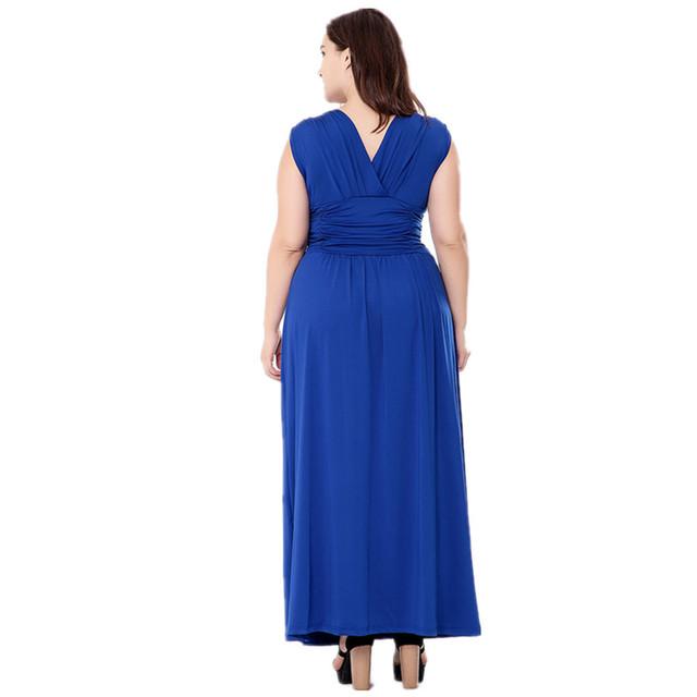VITIANA 2017 Women Summer Boho Beach Clothing Femme Blue Gray V Neck Maxi Long Casual Party Dress Plus Size 5XL 6XL