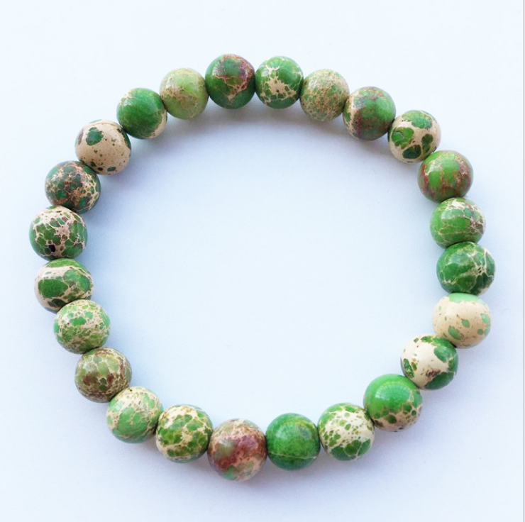 Fashion New Charm Beaded Elastic Bracelet Fine Green King Stone for Men's Vintage Jewelry Accessories