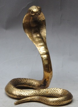 "wedding decoration 7"" chinese fengshui brass Wild animal KING COBRA King snake statue Sculpture New Year"