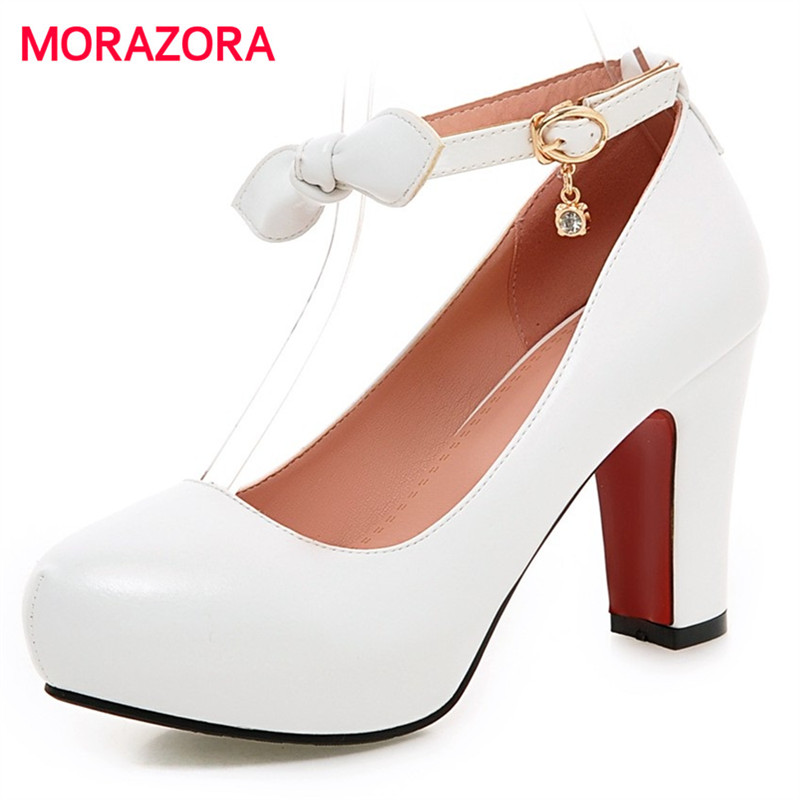 MORAZORA PU soft leather party shoes woman shallow buckle bowtie wedding high heels shoes big size 32-43 women pumps solid vintage big bowtie women shoes bright color high quality patent pu leather low heel shallow slip on shoes woman xwd3767