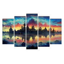 Modular HD Print Artwork Modern Castle Poster Home Decor Wall Art 5 Pieces Pictures Canvas Painting