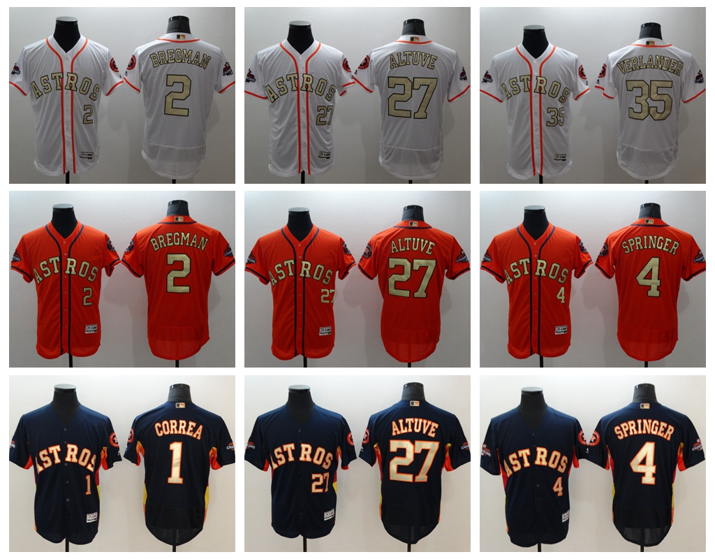 Mens Houston Astros Jose Altuve Justin Verlander Carlos Correa George Springer Alex Bregman 2018 Gold Program Flex Base Jersey ...