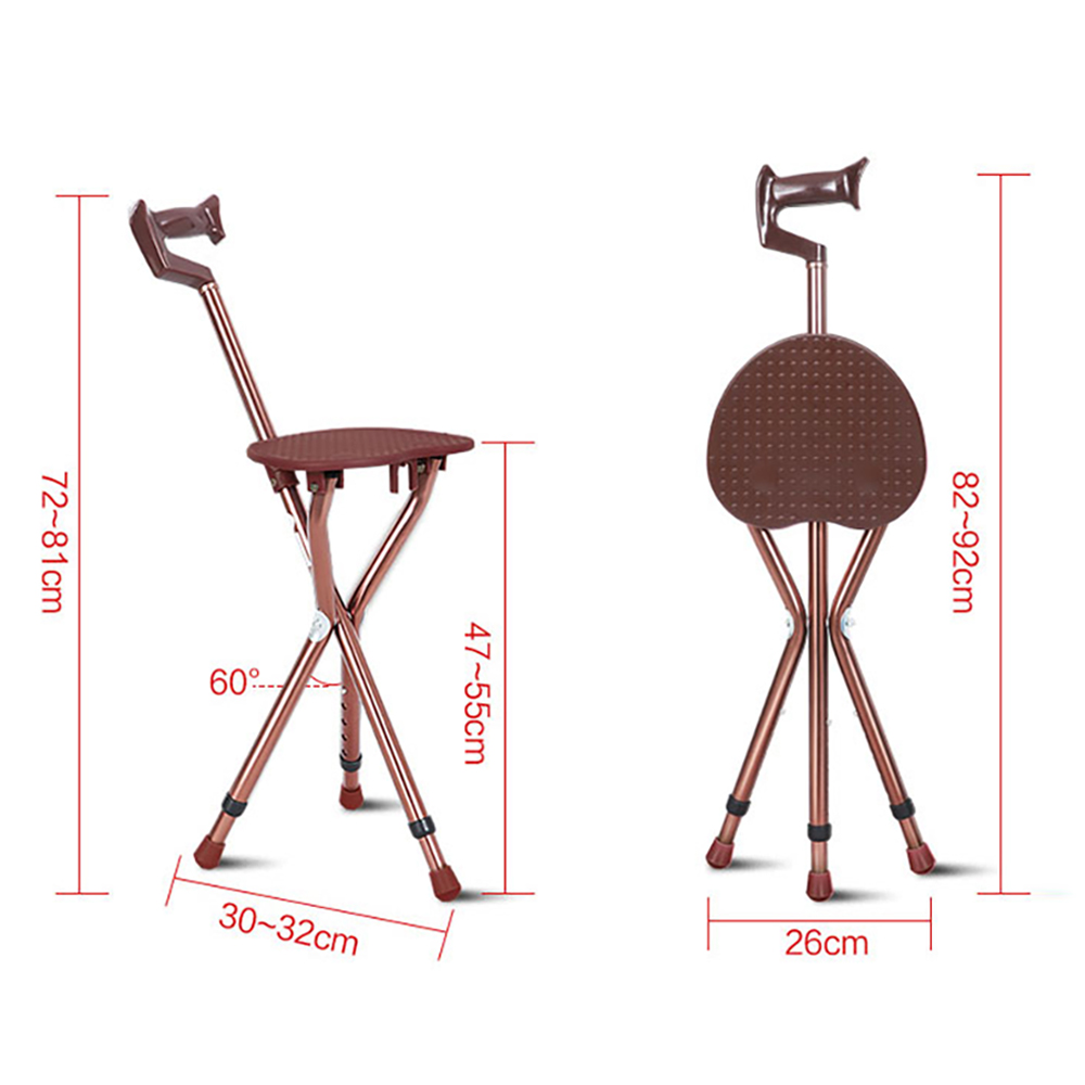 Walking Stick Chair Hammock Sling With Pad Cofoe Adjustable Aluminium Cane Seat Folding Crutch Stool Telescopic 3 Leg Sitting Tripod Shopypopy