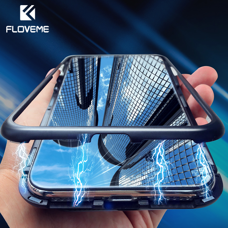 FLOVEME Magnetic Adsorption Phone Case For iPhone X 10 7 Metal Magnet Tempered Glass Cases For iPhone 8 7 Plus Flip Cover Coque