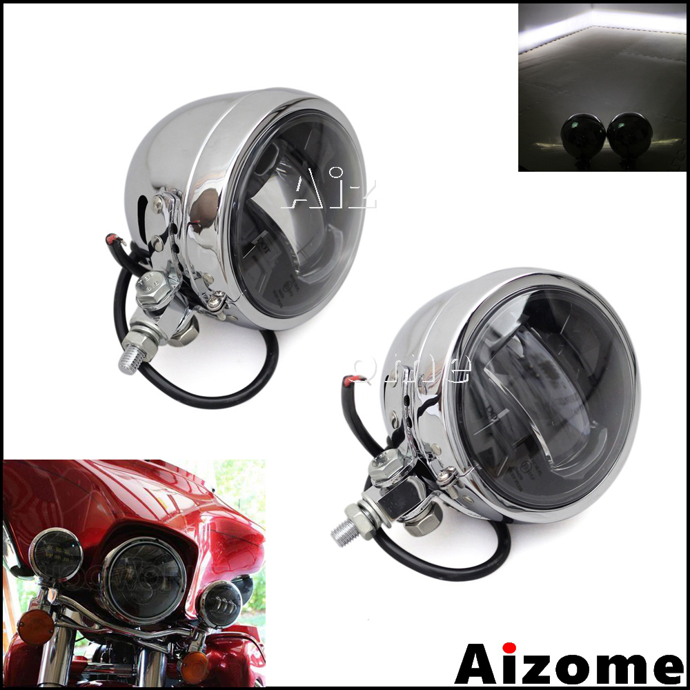Chrome Motorcycle E-MARK <font><b>E4</b></font> Auxiliary <font><b>Lamps</b></font> 4-1/2