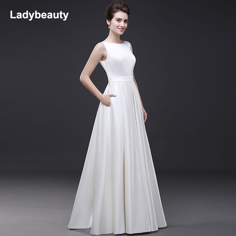 Ladybeauty Beach Wedding Dresses 2018 Vestido Noiva Simple White A-Line Prom Party Bridal Gowns
