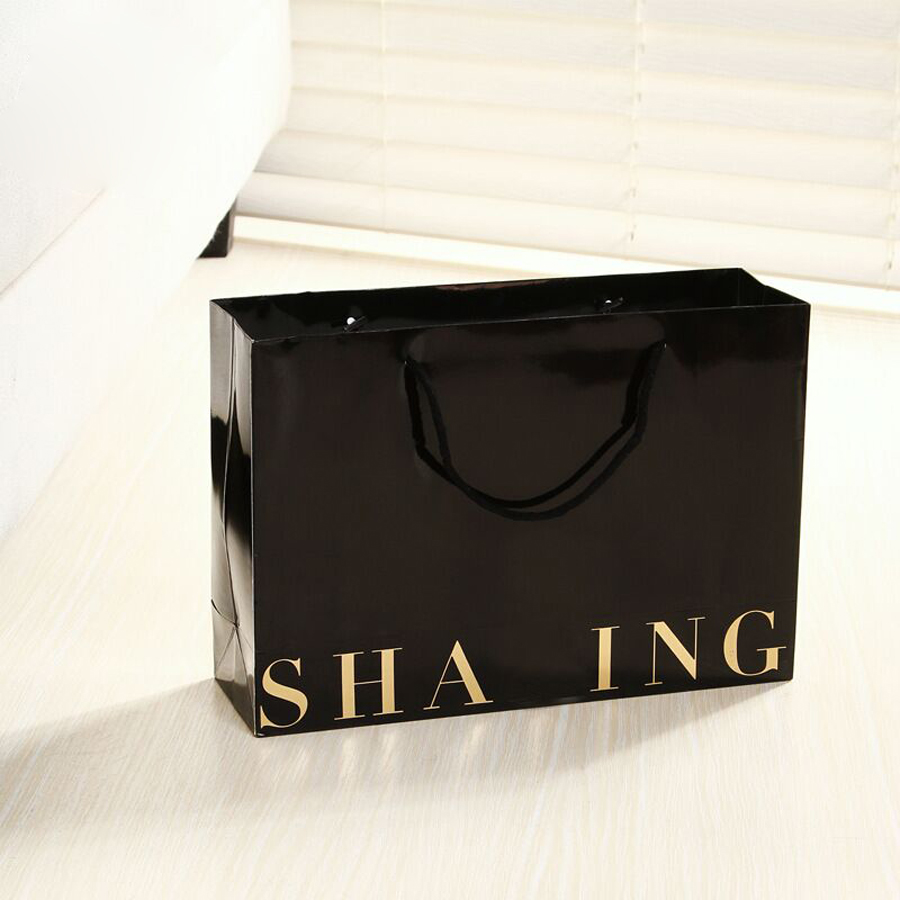 wholesale 1000pcs/lot Custom gold logo boutique gift bag High quality 250g black shoppin ...