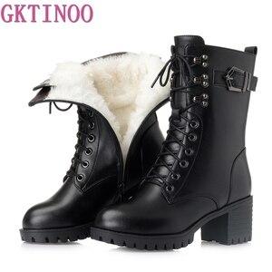 Gktinoo botas de inverno de couro genuíno botas de inverno de lã grossa quente botas de neve femininas de alta qualidade