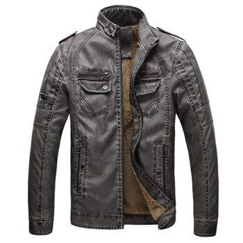 Hot quality Autumn And Winter men leather jacket warm plus velvet coat leisure men jacket motorcycle Windproof PU leather 1