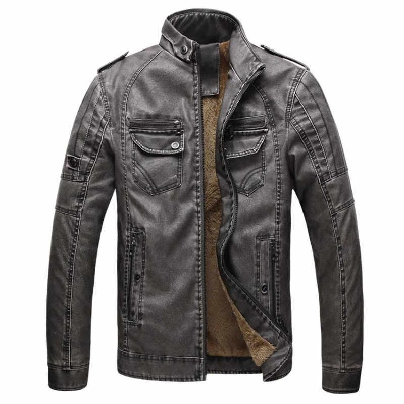 12dc1a8eb89 Горячая Качество Осень и зима Мужская кожаная куртка теплые бархатные  пальто досуг мужчины куртка мотоцикла ветрозащитный