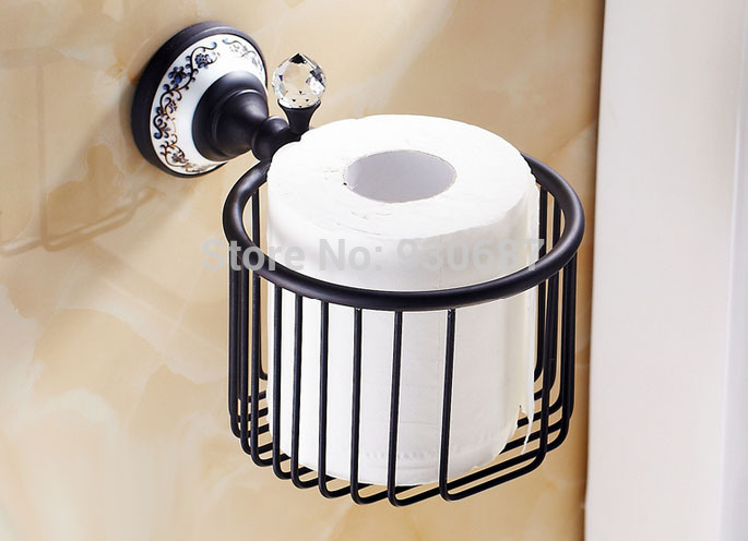 ФОТО Oil Rubbed Bronze Bath Toilet Tissue Holder Wall mounted With Crystal