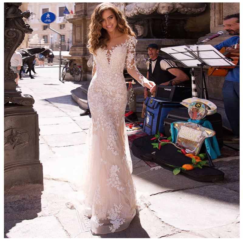 Long Sleeves Double Shoulder Appliqued Lace Wedding Dresses 2019 Mermaid/Trumpet Train Illusion Bridal Gown Dress