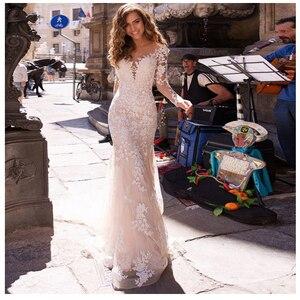 Image 1 - Long Sleeves Double Shoulder Appliqued Lace Wedding Dresses 2019 Mermaid/Trumpet Train Illusion bridal gown dress