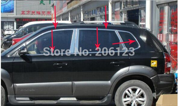 2005-2013 For Hyundai Tucson High quality stainless steel window trim cover(Up+down+posterior triangle,a Set of 18pcs) free shipping 2011 2012 kia rio k2 4dr high quality stainless steel window trim strip down a set of 4pcs