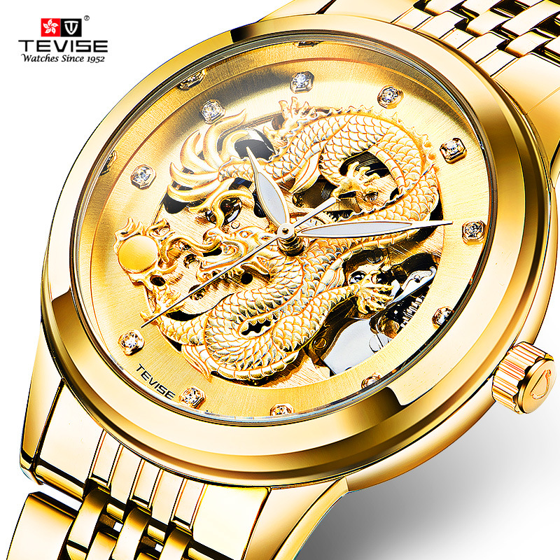 TEVISE Dragon Watch Men automatic mechanical tourbillon watches fashion mens watches automatic self-wind Steel Wrist Watch soft leather mens mechanical wrist watch dragon pattern laser engraving carving gold black business men male hand wind watches