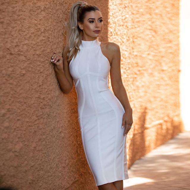 Women White Bandage Dress Striped Midi Bodycon Sleeveless Clubwear Party Dress