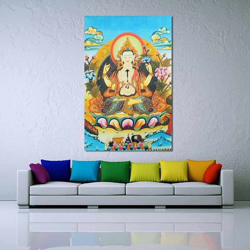"36/"" Tibet Silk Cloth 4 arms Chenrezig Buddha Goddess Bodhisattva Thangka Thanka"