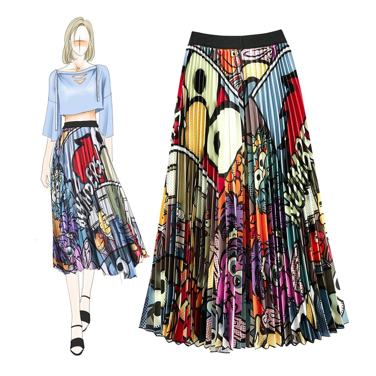 230a522e02 Unique Design Cartoon Pattern Satin Print Fashion Pleated Mid-length Skirt  for Ladies