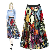 Unique Design Cartoon Pattern Satin Print Fashion Pleated Mid-length Skirt for Ladies