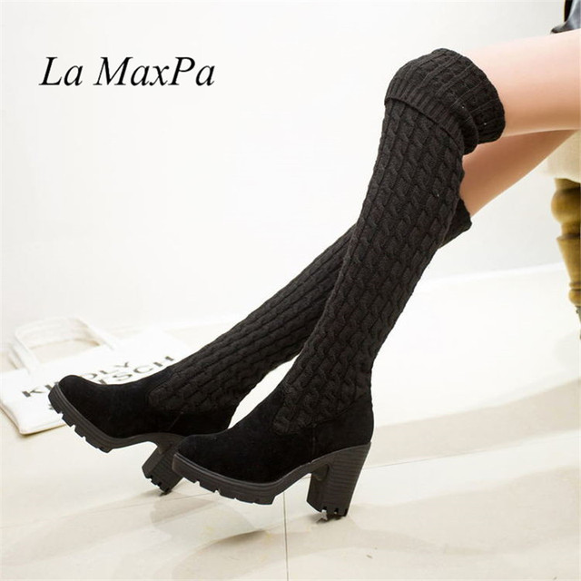 2018 Kadın botları Sonbahar Kış diz çizmeler üzerinde Moda Örgü streç yün çorap çizmeler yüksek topuk Kadın Uyluk yüksek çizmeler