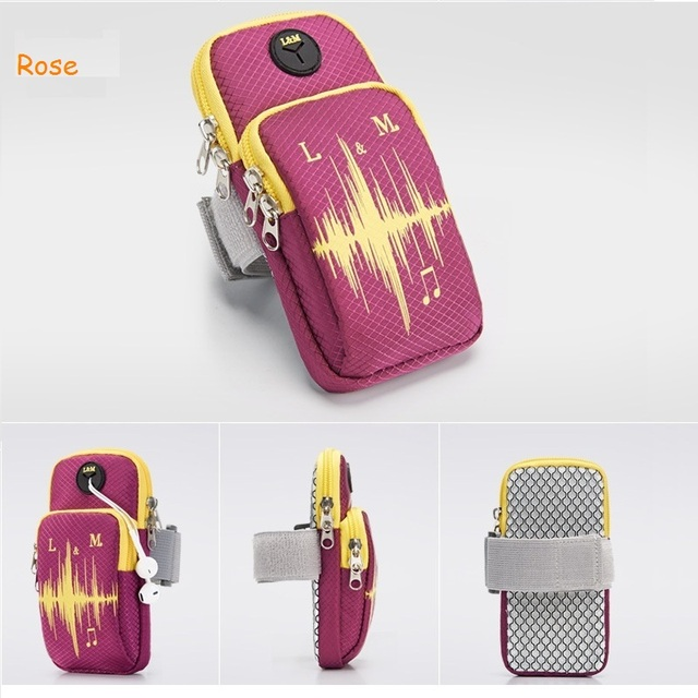 6inches Running Bag with Earphone Hole Jogging Gym Running Armband Bag Mobile Phone Pouch Holder Outdoor Sport Fitness Wrist Bag 3