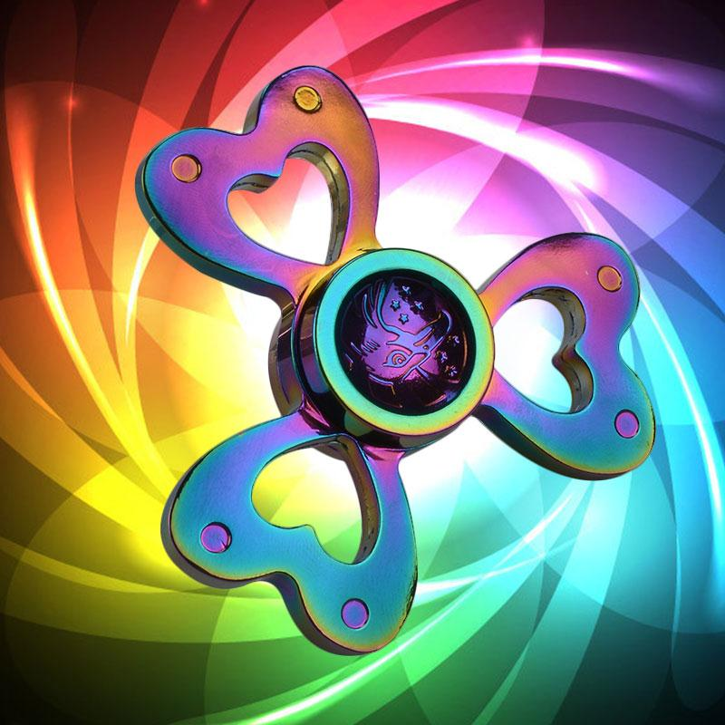 Gyro Rainbow Fidget Spinner Metal Hand Spinner 3 Leaves Love Heart Finger Spinner Stress Relief Focus Rotating Fidget Toys Gift