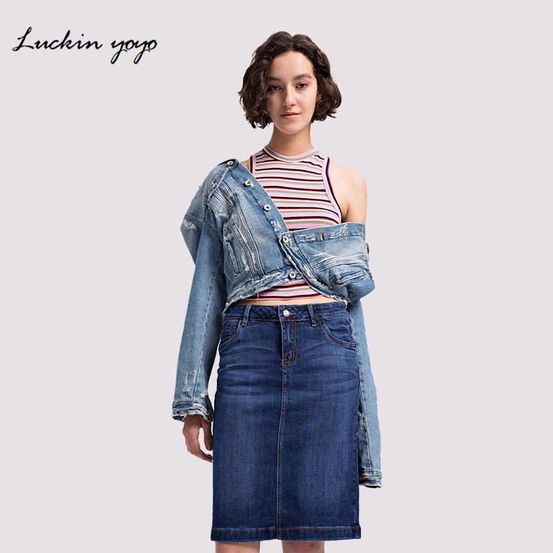 1849a64ad Lukin yoyo mujeres Bodycon Jeans faldas Denim mujeres Midi faldas rectas  lápiz sólido Casual 2018 rodilla-longitud decolorada Retro falda
