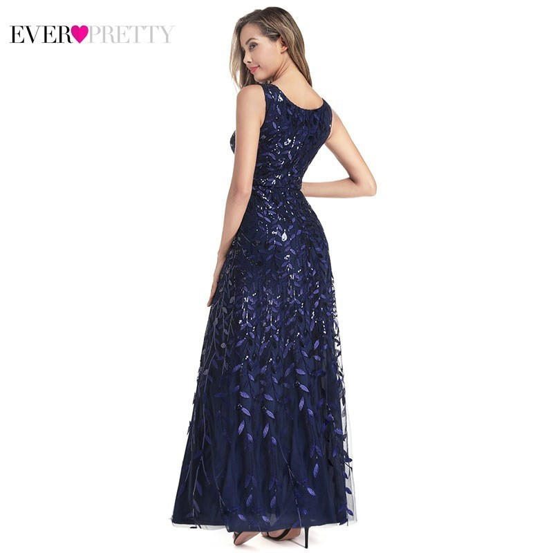 Ever Pretty Sexy Navy Blue Bridesmaid Dresses Sequined V Neck Split Sleeveless Sparkle Wedding Guest Dresses Robe De Soiree 2019 in Bridesmaid Dresses from Weddings Events