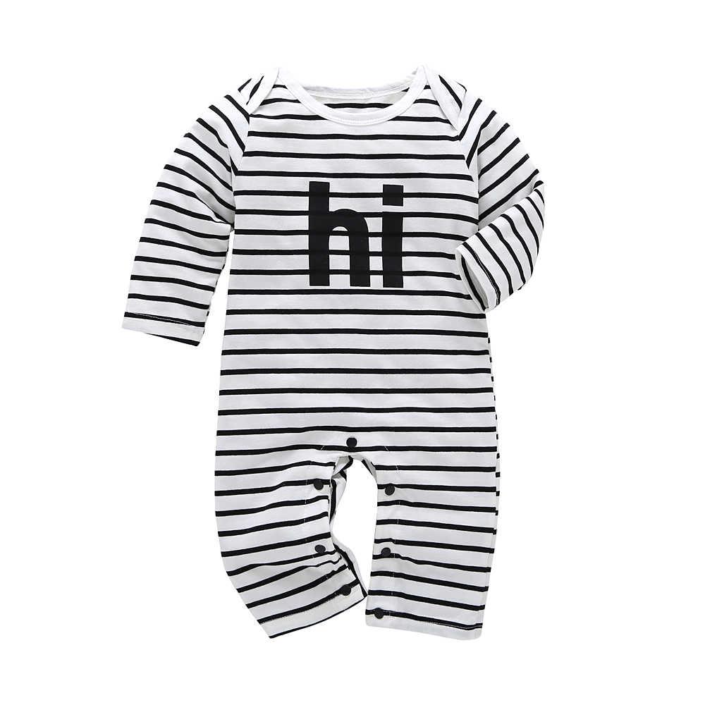 a27864ec9e594 2019 Spring Autumn Cotton Newborn Baby Boy girl rompers stripe Long Sleeve  one piece Sleepwear baby