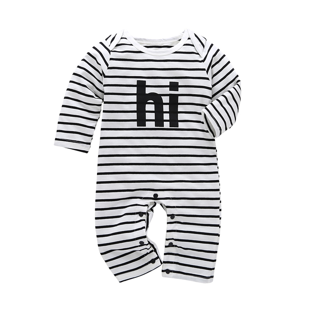 628a46f0a991 2019 Spring Autumn Cotton Newborn Baby Boy girl rompers stripe Long ...