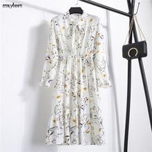 Dresses Summer Dress 2018 Spring Women White Chiffon Long Sleeve Bow Floral Ruffle Party Plus Size Boho Elegant Shirt Midi Dress