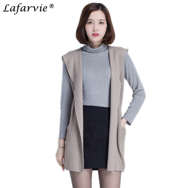 e6d1bde0db965 Lafarvie Cashmere Blended Knitted Sweater Female Hooded Sweater Vest Long  Section of Tthe Spring Autumn Sleeveless Cardigan Pull