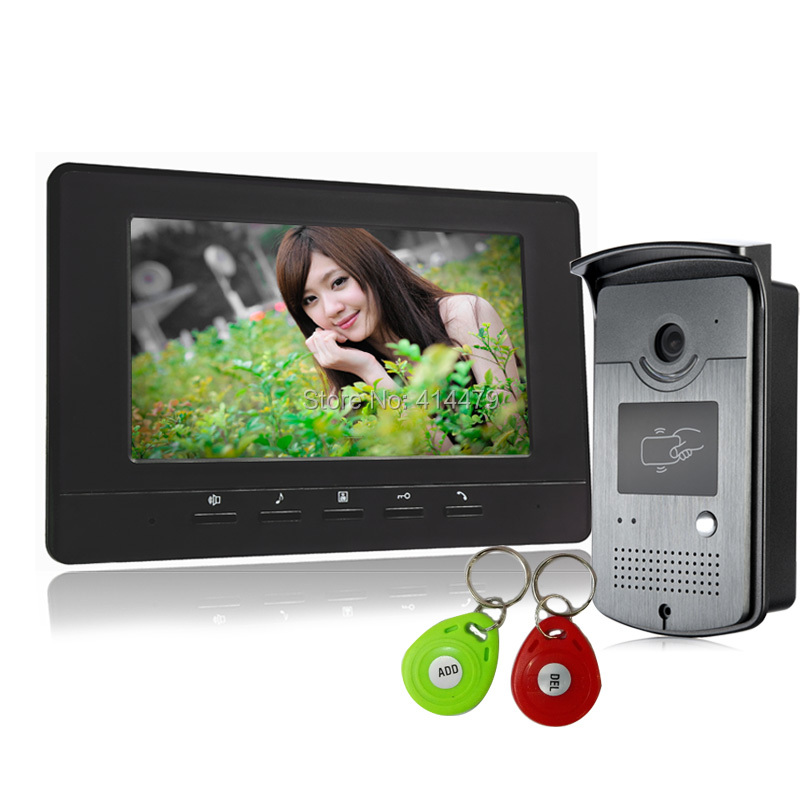 7 inch Wired Video Door Phone System Visual Intercom Doorbell ID Unlocking RFID IR Night Vision Camera 7 inch screen indoor unit wired video intercom doorbell villa unlocking access control rain with night vision