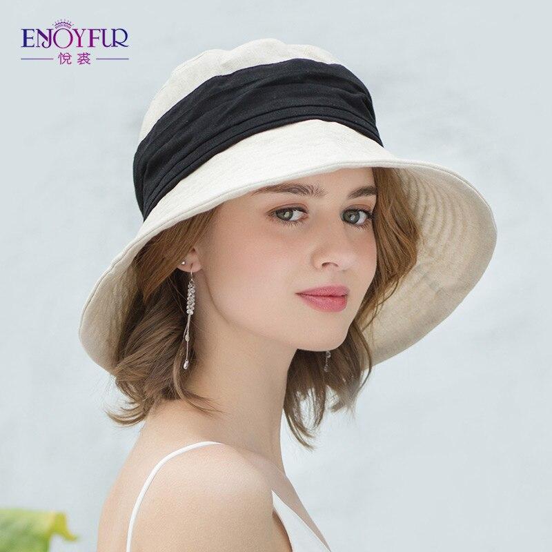 ENJOYFUR Women Summer Sun Hats Cotton Linen Foldable Beach Hat Fashion Patchwork Bucket Cap