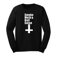 Mens Smoke Meth Hail Satan Long Sleeve T Shirts Casual Men Tee