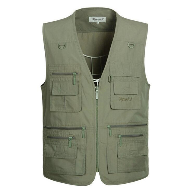 Big yards Spring 2016 New Arrival Casual men's vest, high-quality multi-pocket Sleeveless Jacket Vest,5 Color XL-5XL Plus size