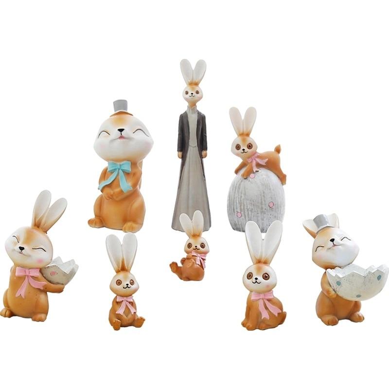 Mini Crafts Dwelling Ornament Equipment Collectible figurines Miniatures Animal Decor Rabbit Resin Backyard Fairy Decoration Flower Plant