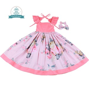 Image 2 - Flofallzique Cotton Vintage Printed Floral Sweet Kids Clothes With tow bow Clips Party Wedding Casual Cute girls dress  1 10Y