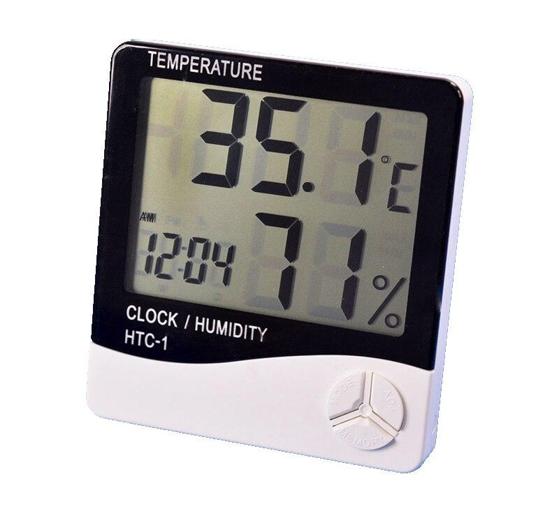 ef2e6a0a91b3 Digital termómetro higrómetro interior escritorio temperatura humedad  medidor reloj despertador Cocina Oficina pared colgar estación  meteorológica 100 Unid ...