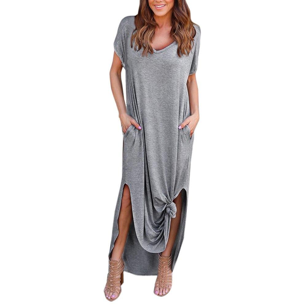4b1cfb531f Summer Beach Maxi Dress In Grey With V Neck - Gomes Weine AG