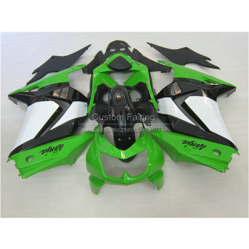 Injection mold plastic Fairing kit for Kawasaki ninja 250r 2008-2014 EX250 08 09 10 11 12 13 14 white green black fairings RR18 vehicle plastic accessory injection mold china makers