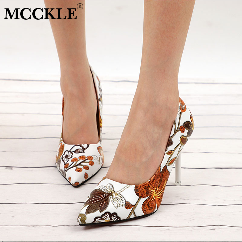 MCCKLE Women Sexy Pumps High Heels Ladies Floral Printing Shallow Slip On Pointed Toe Office Shoes Female Fashion Footwear european style fashion pointed toe shallow slip on strange women high heels shoes suede flock upper girl wedding nude footwear