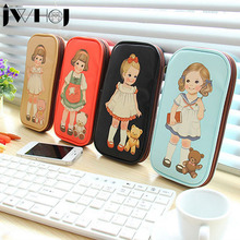 1 x cute girl PU leather Large Capacity Shool Pencil Bag Pencil Case School Supplies Cosmetic Bag children gift